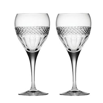 Diamonds Small Crystal Wine Glasses, Set of 2