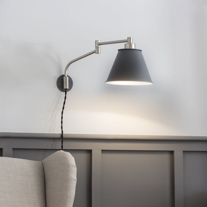 Westport Wall Light in Charcoal, Steel