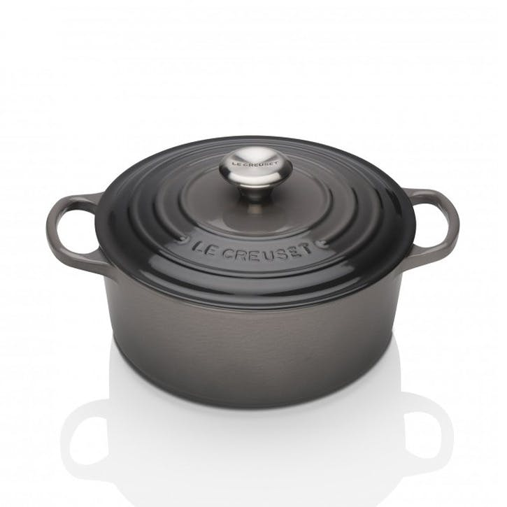 Cast Iron Round Casserole - 26cm; Satin Black