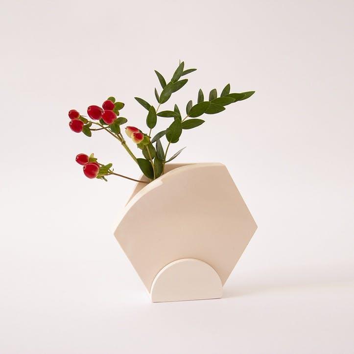 Teumsae Single Planter with Stand, Warm Grey Medium
