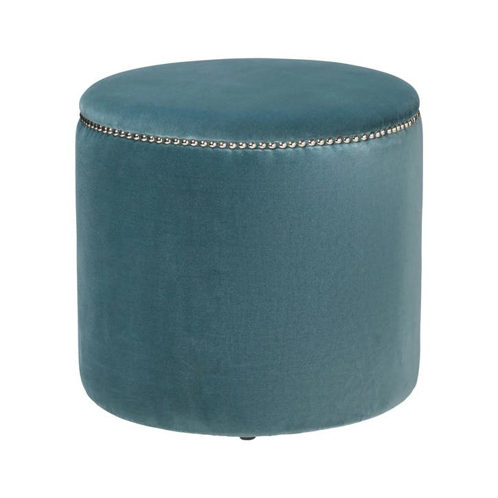 Costellini Velvet Ottoman, Air Force Blue