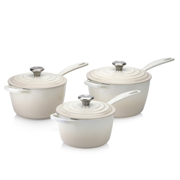 Signature Cast Iron 3 Piece Saucepan Set, Meringue