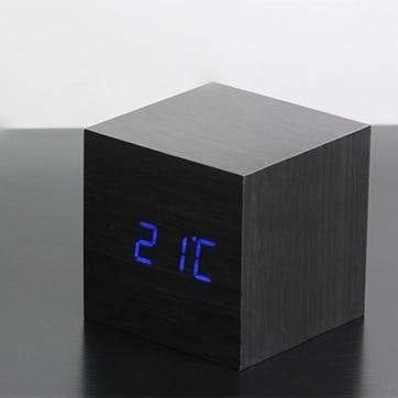 Cube Click Black Clock/ Blue LED, 6.8cm