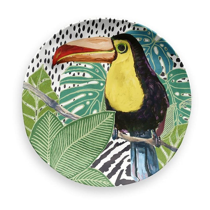 'Lush Jungle' Toucan Melamine Side Plate, 21cm