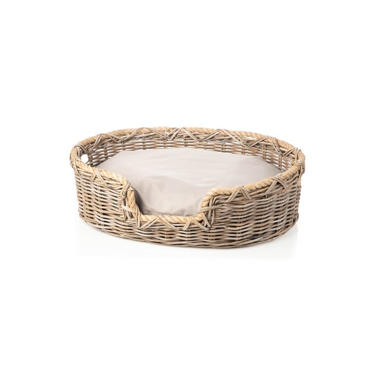 Rattan Oval Dog Basket, S