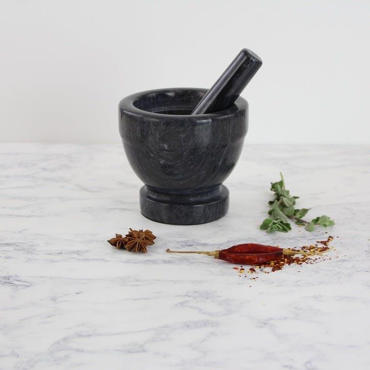 Marble Pestle & Mortar, Large, Dark Grey