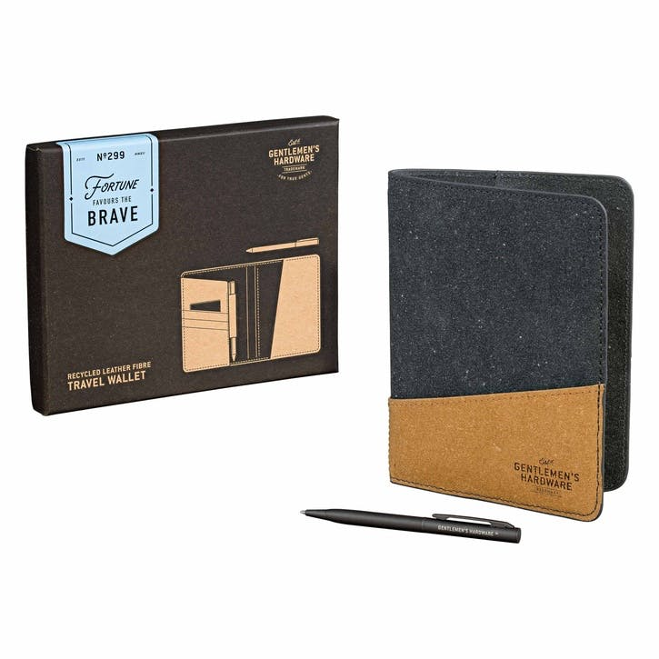 Travel Wallet Recycled Leather, Black & Tan