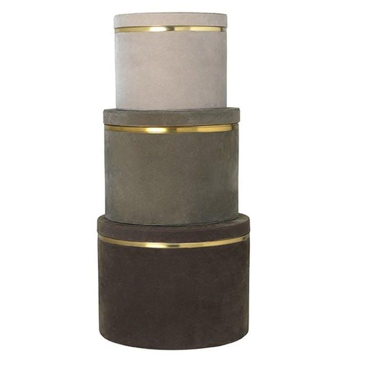 Heidi Velvet Boxes, Set of 3, Grey