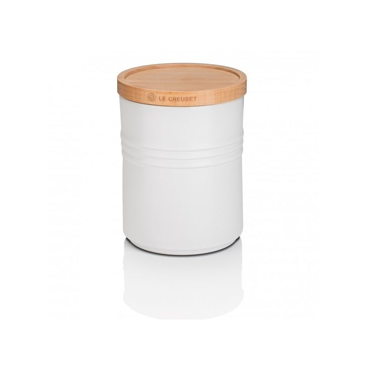 Stoneware Storage Jar with Wooden Lid - Medium; Cotton