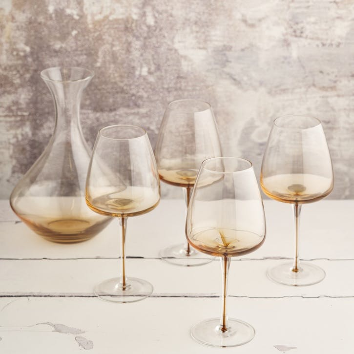 Amber Red Wine Glass, Set of 4