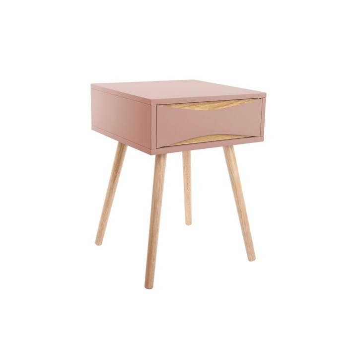 Bedside Table with Drawer, Pink