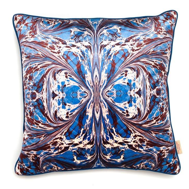 Blue Fantasy Kaleidoscope, Square Velvet Cushion, H49 x W49cm
