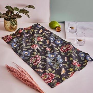 Tea Towel Black, Floral