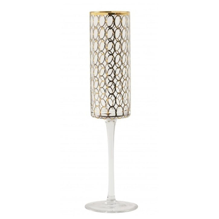 Circle Gold-Plated Champagne Flutes, Set of 6