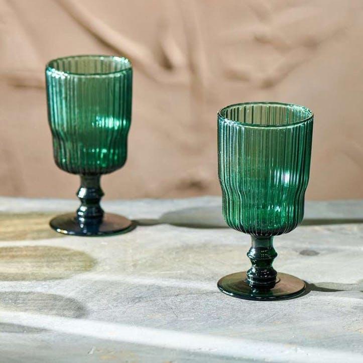 Set of 4 Wine Glasses, Fali, Teal