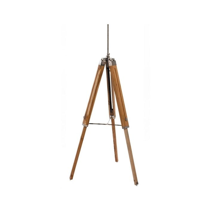 Wooden Tripod Floor Lamp Base; Natural