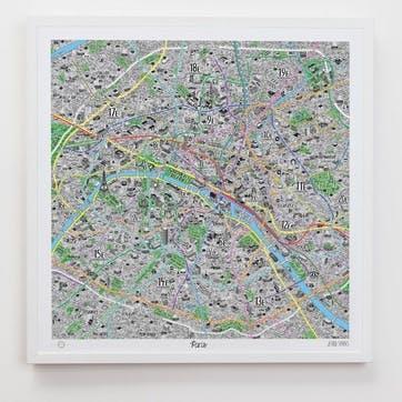 Hand Drawn Map of Paris, 61cm x 61cm