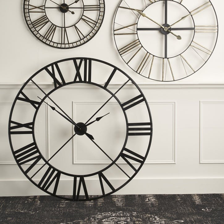 Large Metal Skeleton Clock, Black