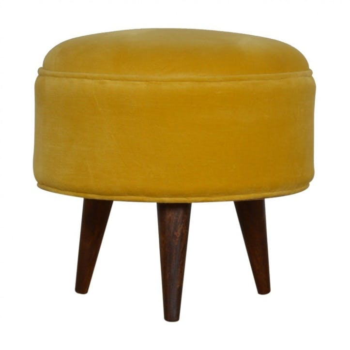 Nordic Velvet Footstool, Mustard