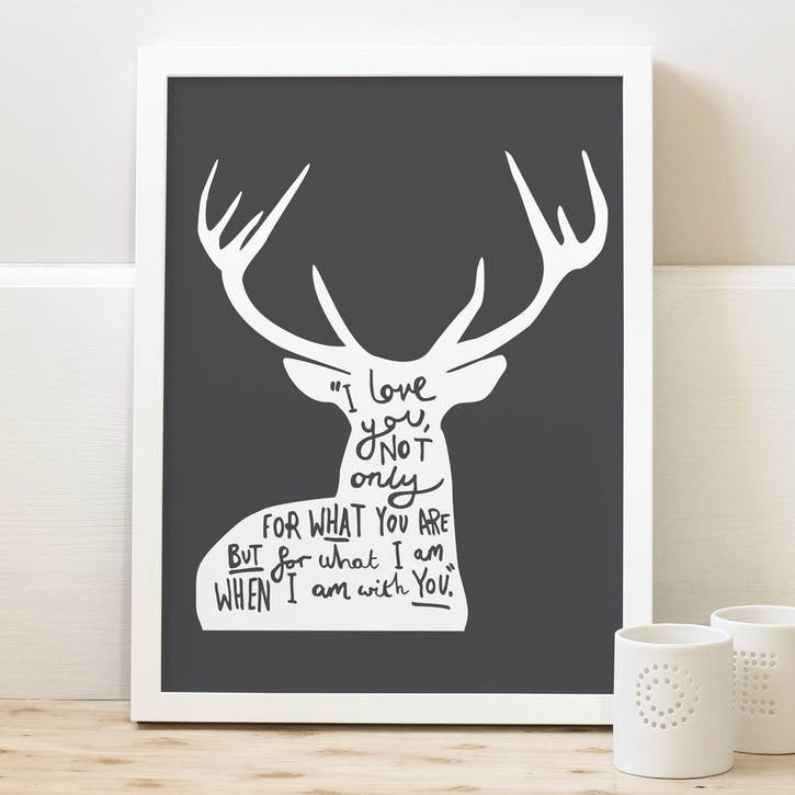 'Love Deer Quote' Print, A4, Charcoal