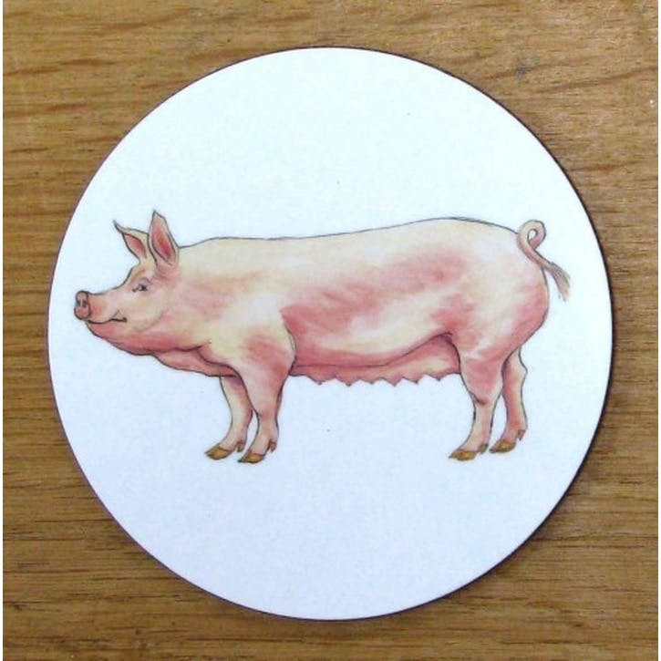 Large White Pig Coaster - 10cm