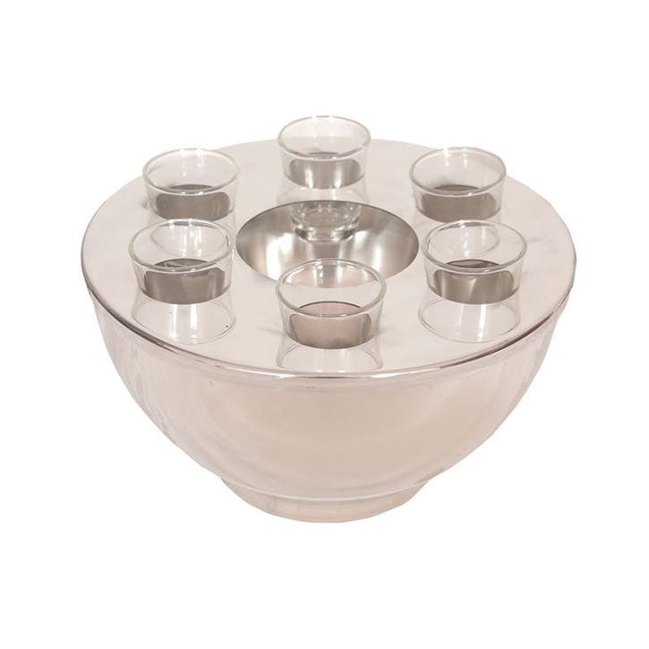 Spirit Cooler Bowl and 6 Shot Glasses, Stainless Steel
