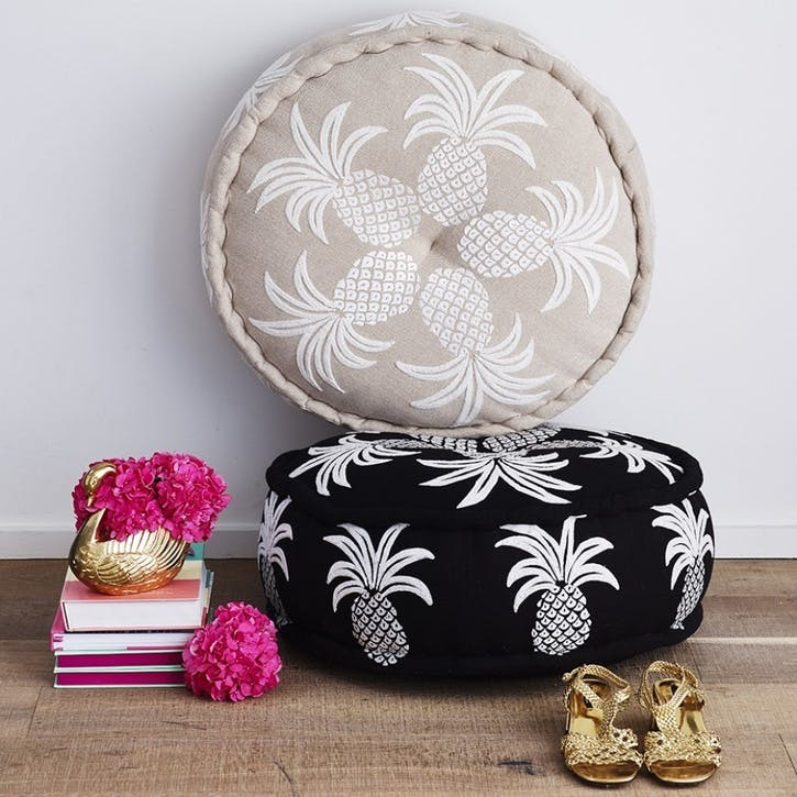 Embroidered Pineapple Pouff, 60cm, Beige/ White