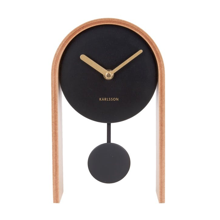 Smart Pendulum Table Clock, Light Wood