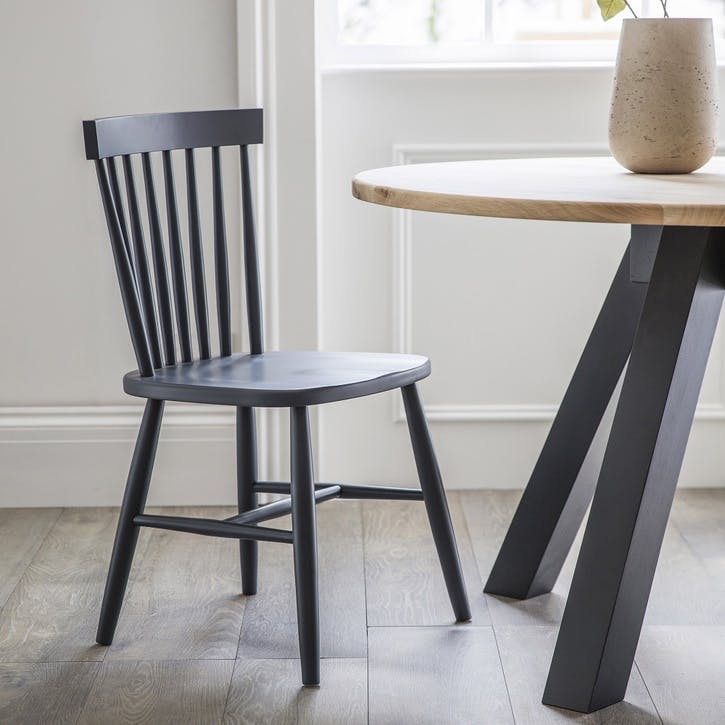 Spindle Back Chair in Carbon, Beech