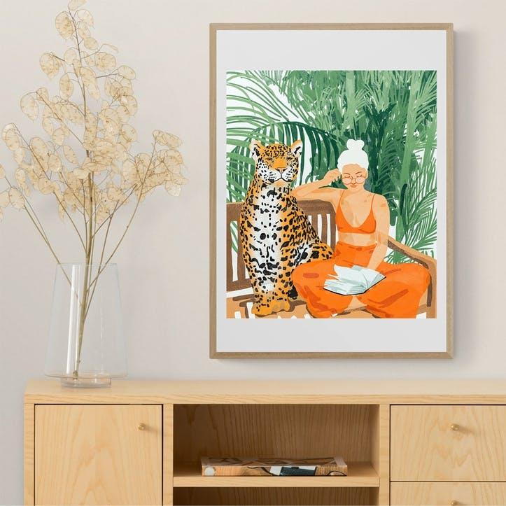 83 Oranges, Jungle Vacay, Framed Art Print, H52 x W72 x D2cm, Beige/ Natural