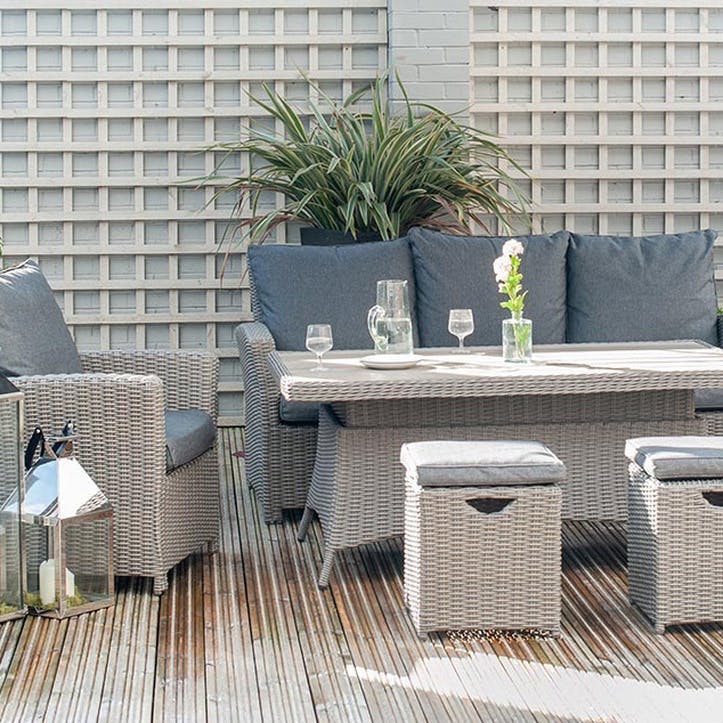 Barbados Seating Set with Relaxed Dining and Adjustable Table, Slate Grey