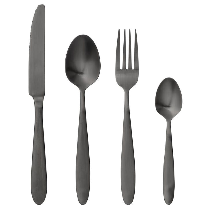 Gisele 4 Piece Cutlery Set, Black