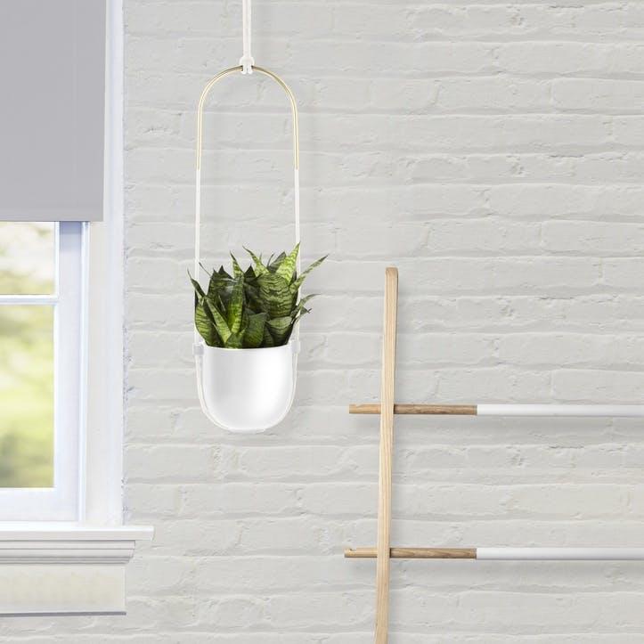 Bolo Hanging Planter, White Matte Brass