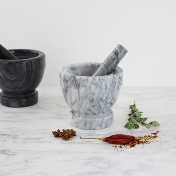 Marble Pestle & Mortar, Large, White/Grey