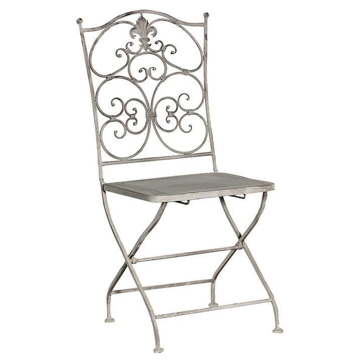 Grey-Wash Metal Folding Chair