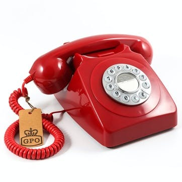 746 Push Button Telephone; Red