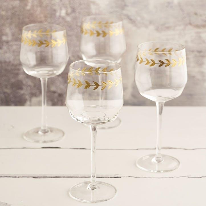 Gold Leaf White Wine Glass, Set of 4