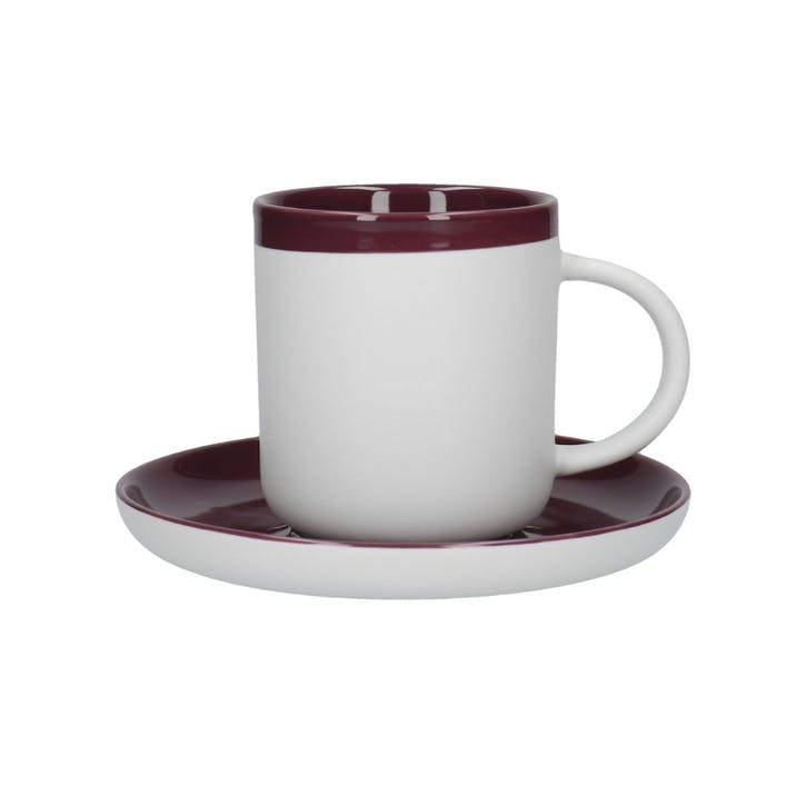 Barcelona Espresso Cup and Saucer, Plum