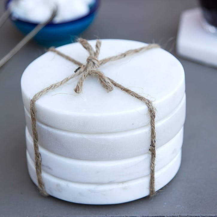 Round Marble Coasters, Set of 4, White