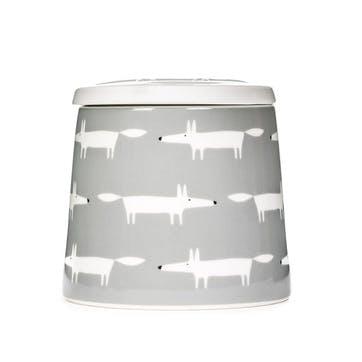 Mr Fox Storage Jar, Dove Grey