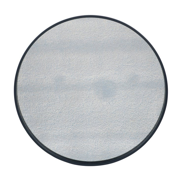 Round Foxed Glass Mirror, Black