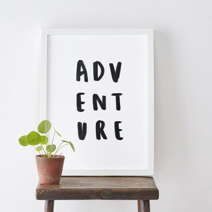 'Adventure' Typography Print, A3