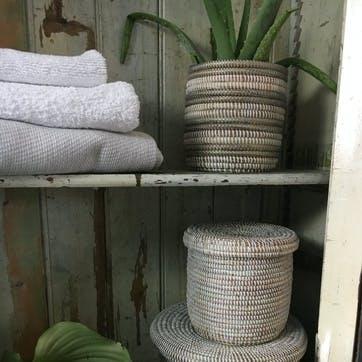 Handwoven Wastepaper Basket, Natural/ Grey Stripes