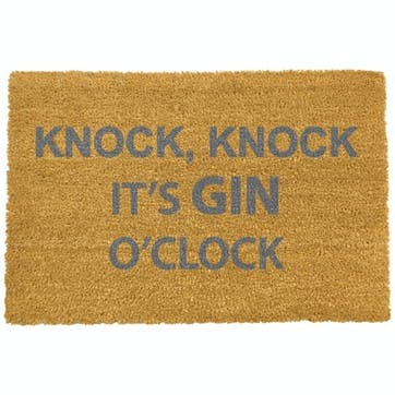 Gin O'Clock Doormat, Grey