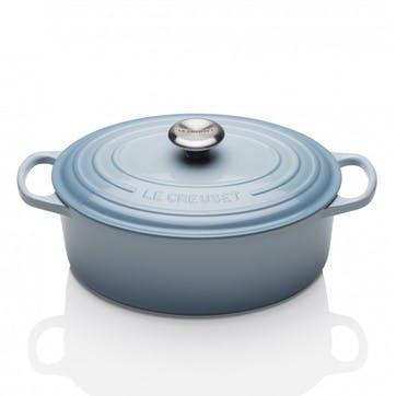 Cast Iron Oval Casserole - 27cm; Coastal Blue