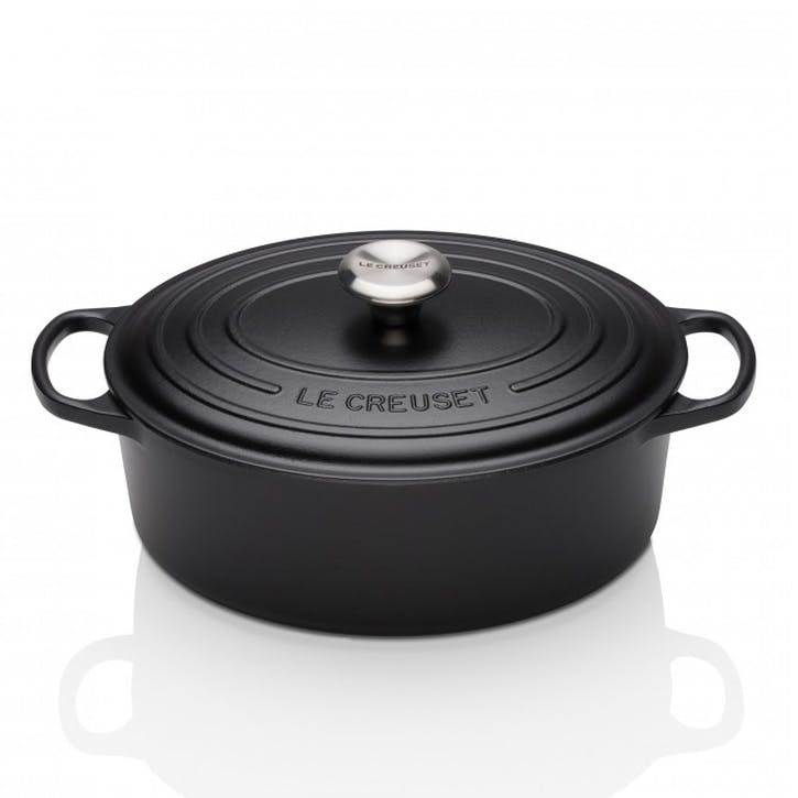 Cast Iron Oval Casserole - 25cm; Satin Black