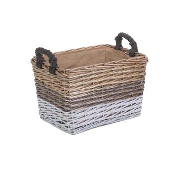 Large Rectangular Triple Tone Chunky Storage Basket