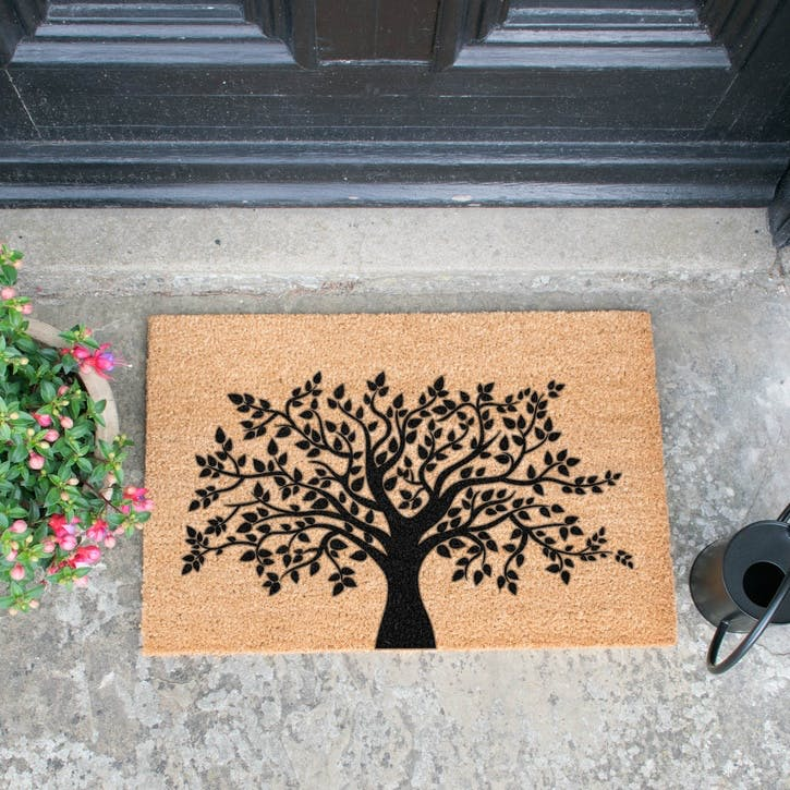 Tree of Life Doormat, Black