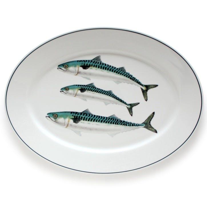 Seaflower Mackerel Oval Platter, 42cm, Blue