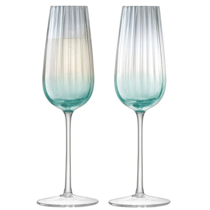 Dusk Champagne Flutes, Set of 2, Green